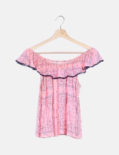 Blusa rosa escote bardot
