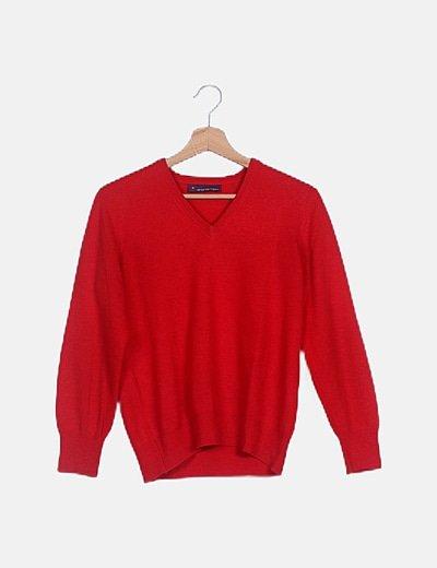 Jersey tricot rojo escote pico