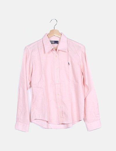 Camisa rosa logo bordado