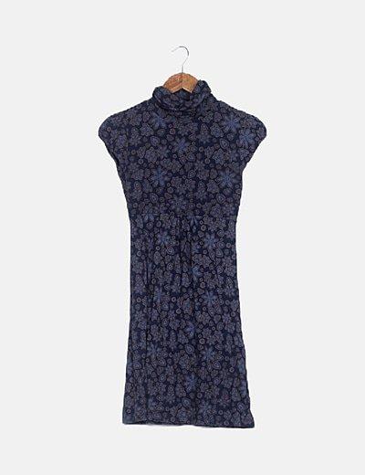 Vestido estampado azul marino