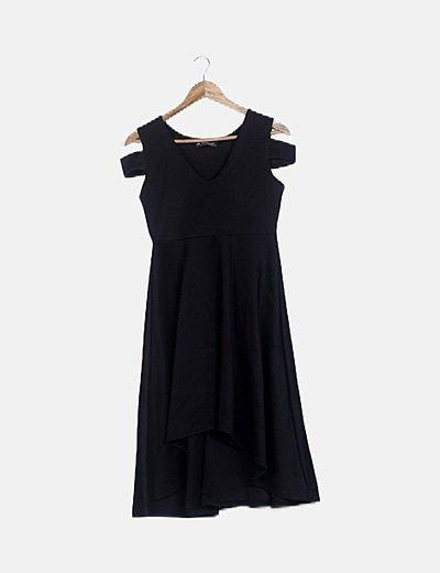 Vestido maxi negro asimétrico