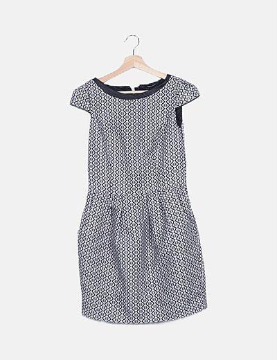 Vestido bicolor estampado