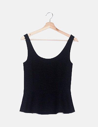 Camiseta peplum texturizada negra