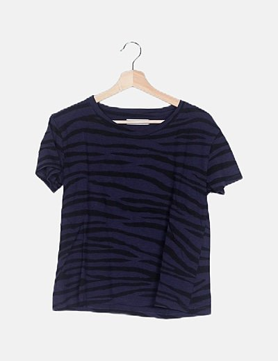 Camiseta animal print azul marino