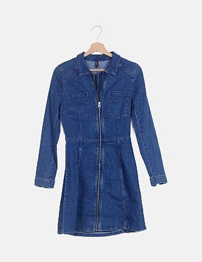 Vestido denim azul con cremallera
