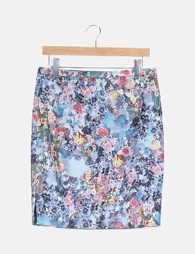 Falda midi multicolor floreada