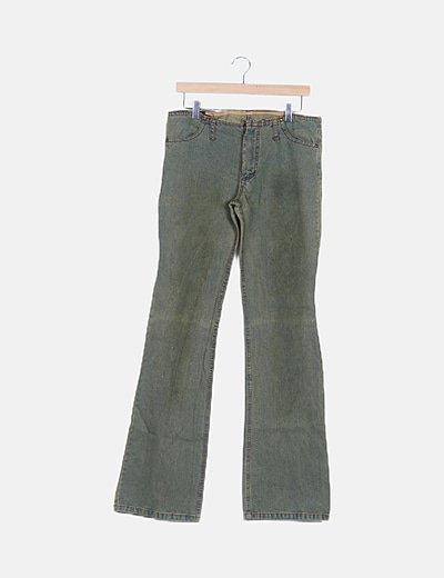 Pantalón denim azul efecto desgastado