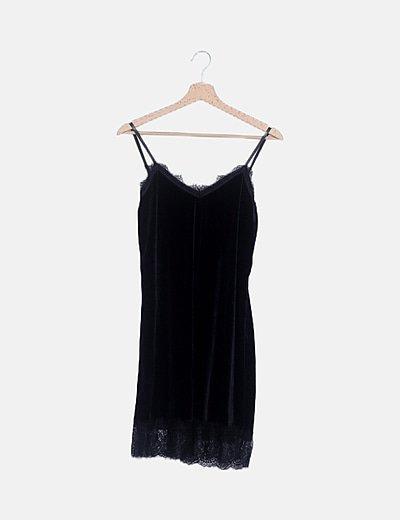 Vestido mini lencero terciopelo negro