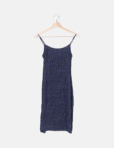 Vestido maxi azul marino floral