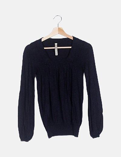 Jersey tricot negro cuello rectángulo