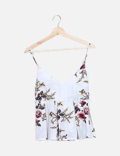 Blusa blanca estampado floral