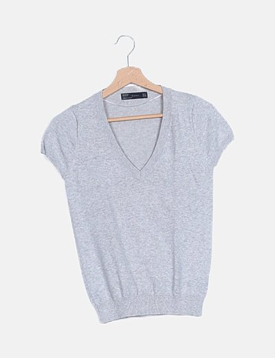 Jersey manga corta tricot gris