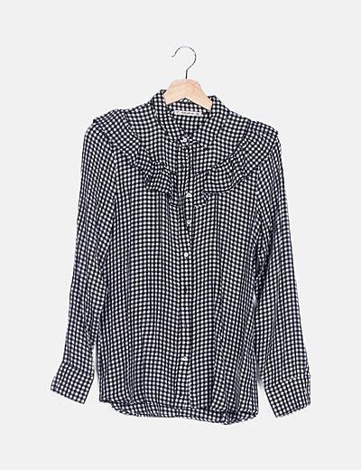 Camisa cuadro vichy negro
