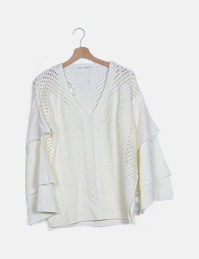 Jersey lana blanco calado