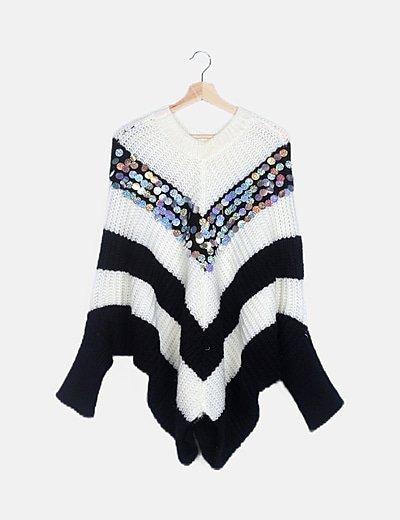 Poncho lana bicolor lentejuelas glitter