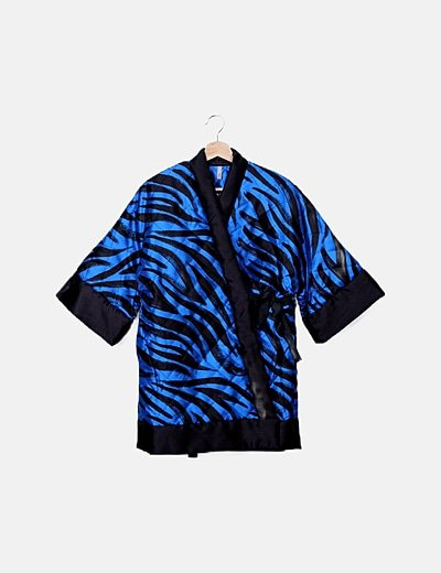 Kimono acolchado azul animal print