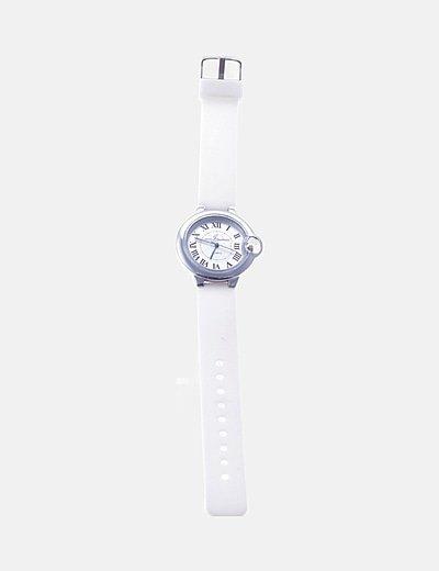 Reloj blanco silicona esfera plateada