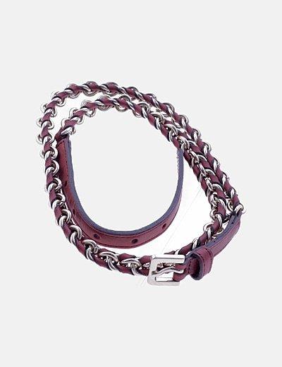 Cinturón cadena burdeos