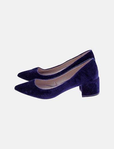 Zapatos kitten heels terciopelo azul marino