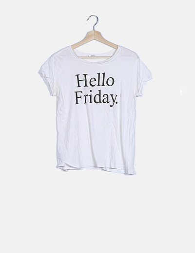 "Camiseta blanca print ""Hello Friday"""