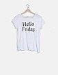 "Camiseta blanca print ""Hello Friday"" Mango"