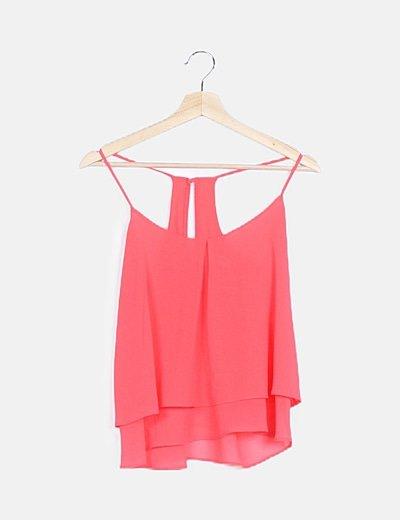 Blusa rosa volante
