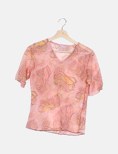 Blusa rosa semitransparente estampada