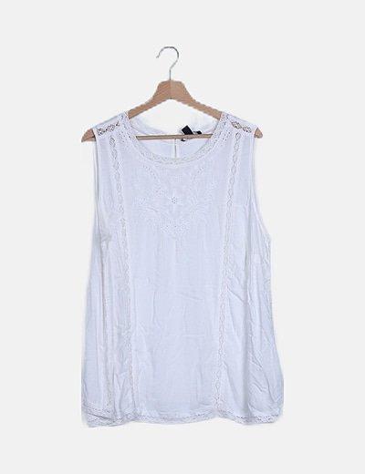 Blusa blanca manga sisa combinada