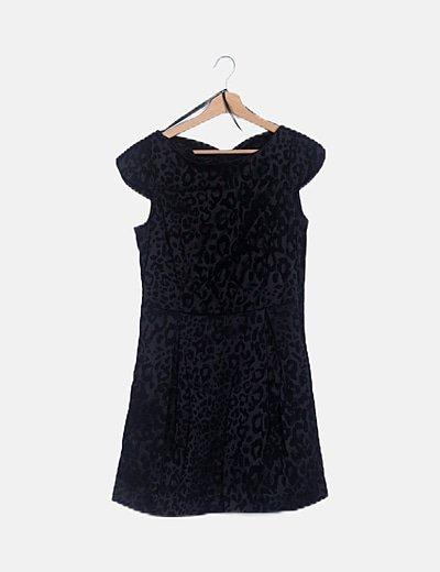 Vestido velvet negro animal print