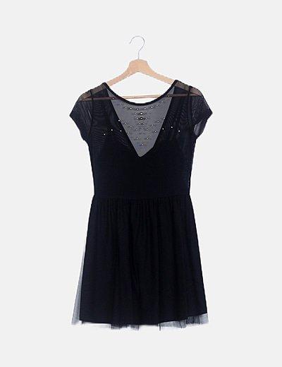 Vestido mini negro gasa con tachas