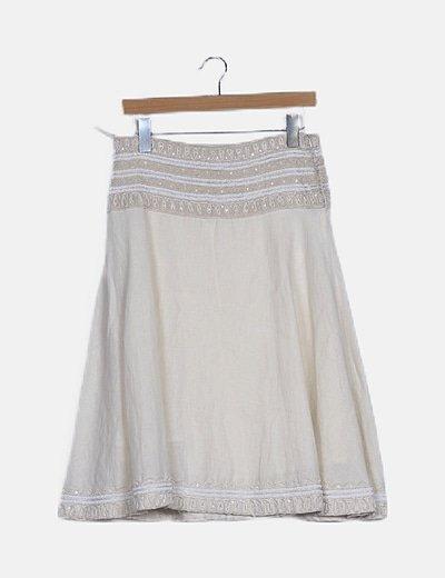 Falda mini lino beige pedrería