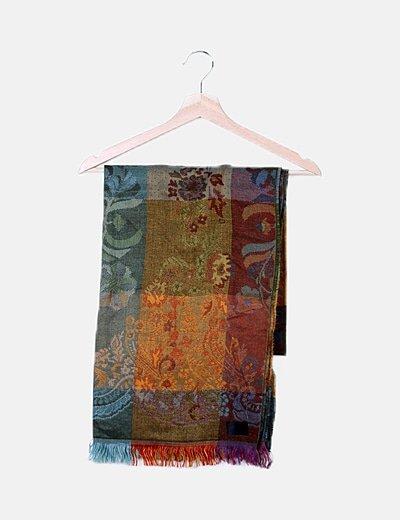 Bufanda multicolor de flecos