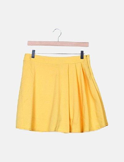 Mini falda evasé amarilla