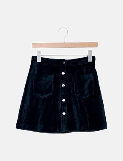 Mini falda terciopelo azul petróleo