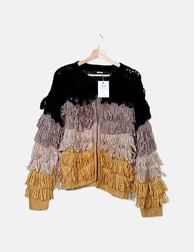 Chaqueta lana rizo tricolor