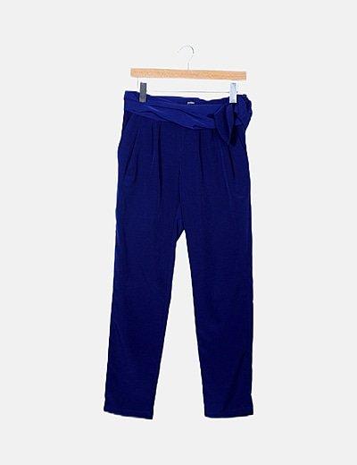 Pantalón pinzas azul marino satinado