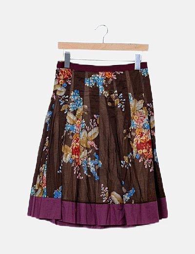 Falda midi marrón floral con foulard