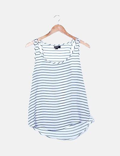 Blusa blanca rayas azules