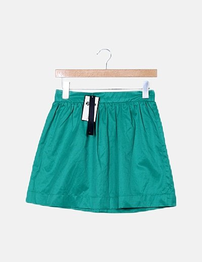 Mini falda evasé verde