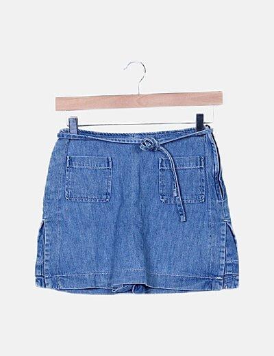 Falda pantalón denim bolsillos