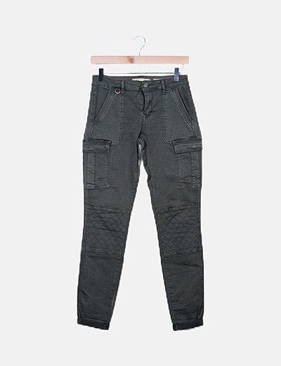 Jeans skinny denim cargo khaki