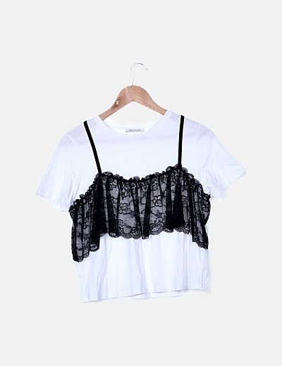 Camiseta blanca combinada encaje