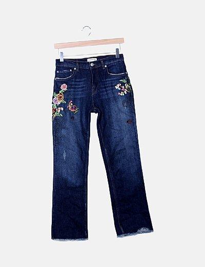 Jeans denim recto bordado floral