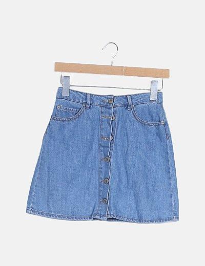 Mini falda denim corchetes