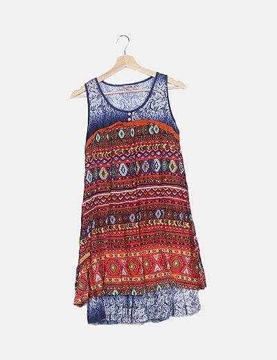 Vestido étnico multicolor