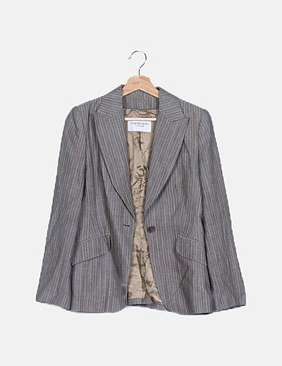 Conjunto blazer y pantalón gris raya diplomática