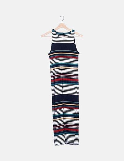 Maxi vestido canalé multicolor