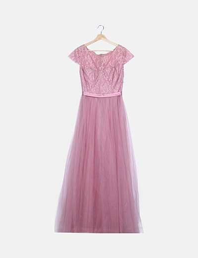 Vestido encaje rosa falta tul