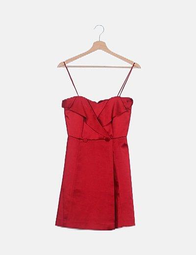 Vestido mini rojo satén