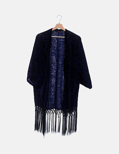 Kimono azul terciopelo flecos